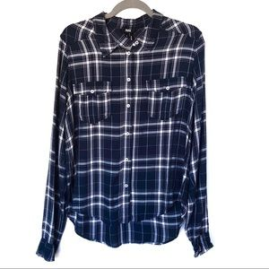 Paige Jeans Navy Plaid Rayon Button Front Shirt